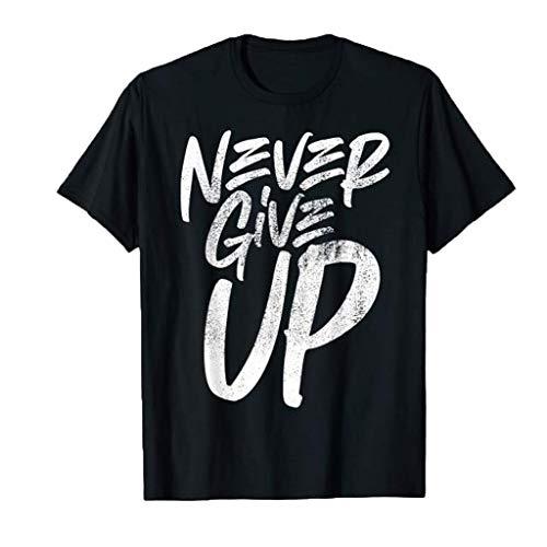 Tyoby Herren T-Shirt Drucken Gib nie auf Fun Kurzärmliges Oberteil Sommer Mode Casual Tops Herrenbekleidung (SchwarzC,XXL)