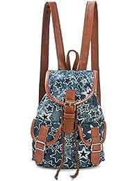 fc3d4ff0e9e Zilosconcy Mochila de Jeans Retro Art Institute Viento Mochila de Impresión  de Pentagrama Puro Simple par de Bolsa de Viaje de Gran…