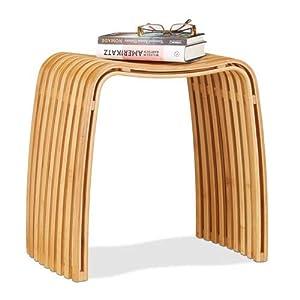 Relaxdays Garderoben Hocker aus Bambus, eleganter Holzhocker in skandinavischem Design, Sitzhocker für Garderobe, natur
