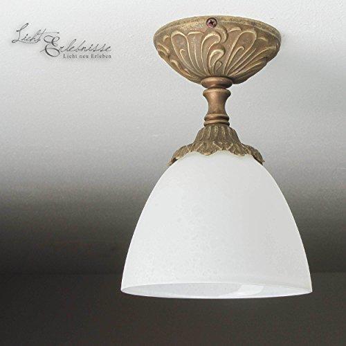 Deckenleuchte Bronze Weiß Glas Echt-Messing Antik Jugendstil E14 40W Handarbeit Deckenleuchte...