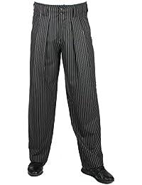 Hose Boogie in Schwarz weiss gestreifte Bundfaltenhose, Mode im 50er 60er Style von HK Mandel, 301707
