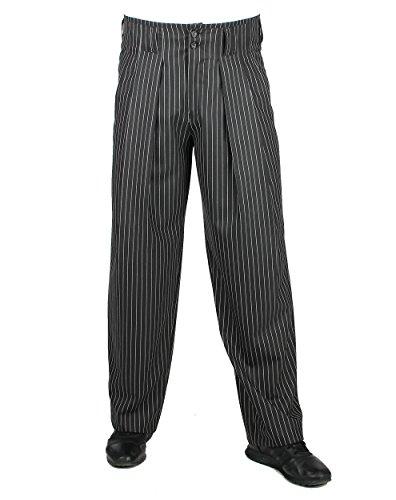 H.K.Mandel Schwarz Weiß gestreifte Herren Hose mit Extraweit geschnittene Beine Stoffhose mit Bundfalte, Vintage Stil Modell Boogie Größe 56