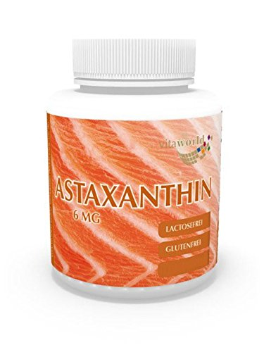Vita World Astaxantina 6mg 60 capsule di olio (capsule di gelatina) - Estratto di Haematococcus pluvialis Made in Germany