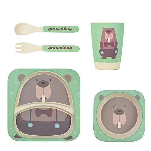 Vaisselle en bambou pour enfants 5 pièces de LOMOS « castor », écologique et colorée