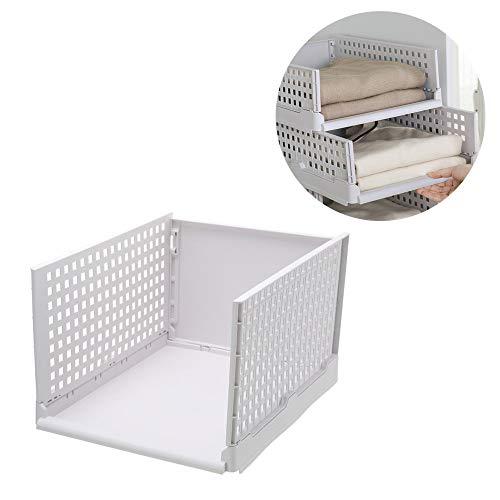 NNDQ Closet Storage Organizers, Set mit 4 Schubladen, stapelbare Kleiderschränke, geschichtete Trennwände, Ordnen Sie Ihre Bettlaken, Handtücher, Kleidung usw. (Rubbermaid-schublade Veranstalter)