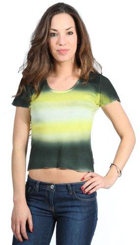 GAS -  T-shirt - Collo a U  - Maniche corte  - Donna grün-gelb-weiß Small