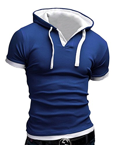 Herren Top T-Shirt mit Kapuze Sport Elastizität Slim Fit Sommer Hoodies Blau