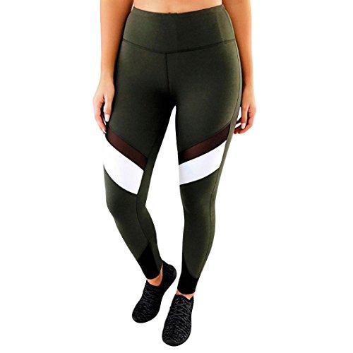 8edd219ea31b Homebaby Eleganti Yoga Leggings Sportivi Donna Pantaloni Tagliati – Mesh Leggings  Sport Opaco Fitness Spandex Palestra ...