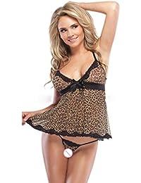 Lencería Mujer, Amlaiworld Mujer encaje arco ropa interior leopardo tentación Vestido de noche + tangas