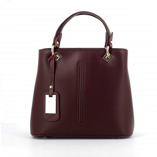 Laura Moretti - Handtasche aus Leder mit metallischem Anhängeranhänger und Mittelstreifen (Patent White Leather Clutch)