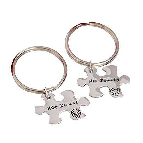 AYOMI His Beauty Her Beast Couples Puzzle Keychains Set Personalized Couple Keyring