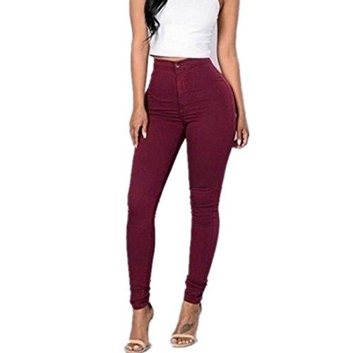 Leggings damen Kolylong® Frau Elegant Hohe Taille Elastic Hose Freizeit Stretchy Leggings Beiläufige Jeans Hosen Slim Bleistifthose Businesshose Fitness Hose Pants (Rot, S)