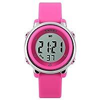 FeiWen Kids meerkleurig LED verlichting horloges 50M waterdicht digitaal sport jongens en meisjes polshorloges plastic keuzeschijven met rubberen band multifunctionele stopwatch kalender alarm
