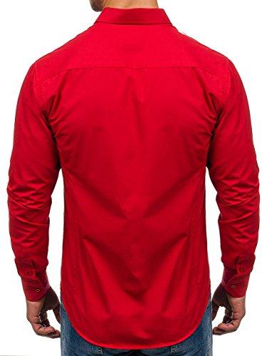 Bolf Herren Hemd Elegant Langarm Farbwahl Knopfleiste Casual Style 2B2 MIX Rot_1703
