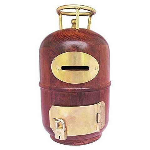 Cylindre en bois Shape Money Bank, avec serrure et clé, pièces de monnaie tirelire individuelles titulaires de pièces,, Thanks Giving ou cadeau de Noël