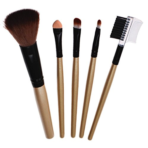 Pinceaux Maquillage, Makeup brushes set, Koly 5 Pcs Maquillage Outils Brush Set Maquillage Trousse De Toilette Laine Maquillage Brush Set