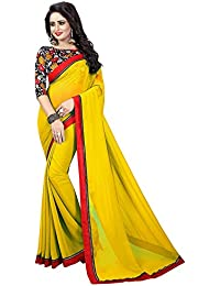 50bf0c001f0fe Vishnu Creations Georgette Saree With Blouse Piece (1801 Yellow Yellow Free  Size)