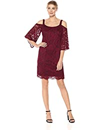 6e86db1adbac ROBBIE BEE Women s Cold Shoulder Lace Bell Sleeve Dress Casual
