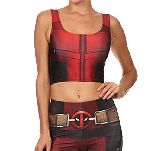 Cosplay Kostüm Deadpool Gedruckt Weste Stretch Leggings Set Halloween Maskerade Kostüm Kleidung Ärmelloses Top und - Top Morphsuit Kostüm