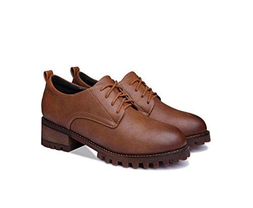 Damen Oxford mit Dick Gummi Blockabsatz Bequem Leder Low-Top Schuhe Braun puUPXHa