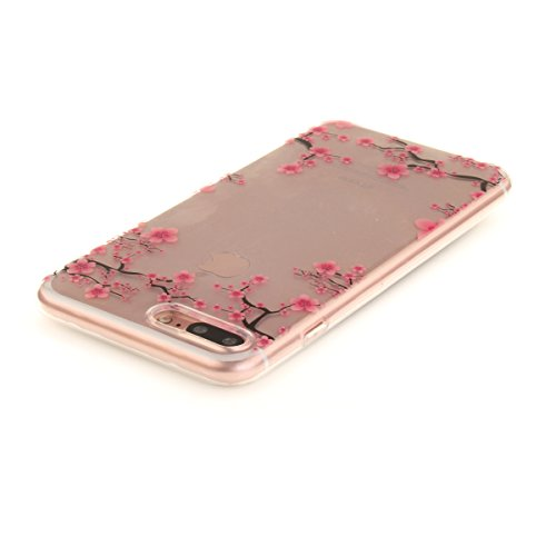 iPhone 7 Plus Hülle, iPhone 7 Plus Hülle, Gift_Source [ Pinguin ] Hülle Case Transparent Weiche Silikon Schutzhülle Handyhülle Schutzhülle Durchsichtig TPU Crystal Clear Case Backcover Bumper Case für E1-Pflaumeblume