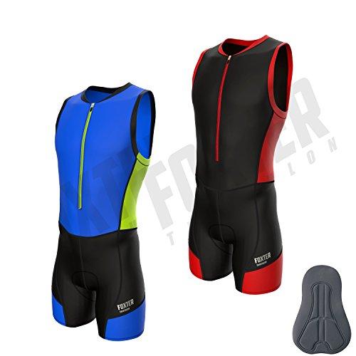 Triathlon-Anzug für Herren von Foxter, zum Schwimmen, Laufen, Fahrradfahren, rot, Large