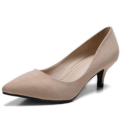 AalarDom Femme à Talon Correct Pointu Couleur Unie Tire Chaussures Légeres Abricot-Dépolissement