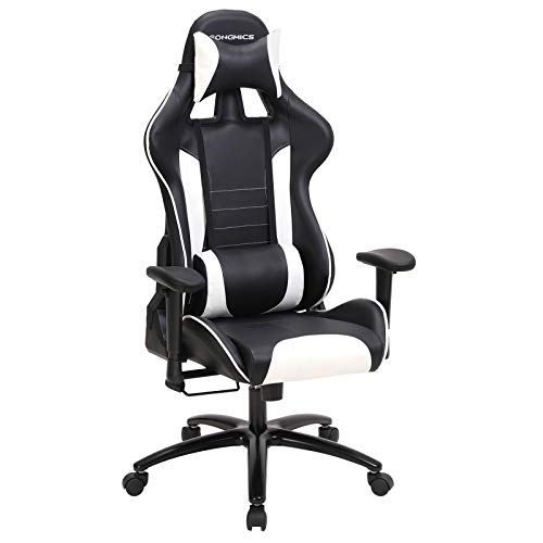 SONGMICS Bürostuhl Racing Stuhl Gamingstuhl mit hoher Rückenlehne Formschaum gepolsterte Sitzschale Verstellbare Kopfkissen und Lendenkissen für Soho- oder Büroarbeit Schwarz / Weiß RCG17BW
