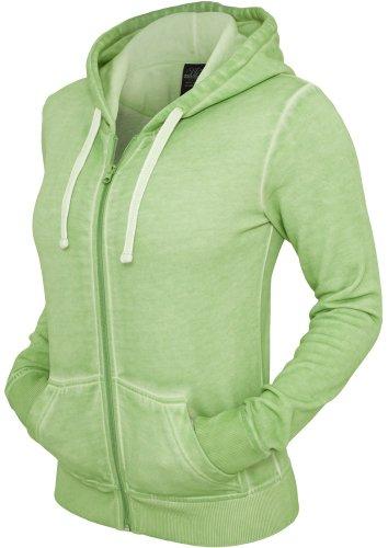 Urban Classics - Ladies Spray Dye Zip Hoody, Pantalone da donna,  manica lunga, verde(grün), L