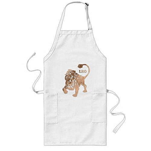 leo-lion-brushed-gold-red-zodiac-long-apron