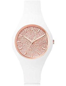 Ice-Watch - ICE glitter White Rose-Gold - Gold Damenuhr mit Lederarmband - 001350 (Medium)