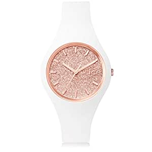 Ice-Watch - ICE glitter White Rose-Gold - Women's wristwatch with silicon strap - 001343 (Small)