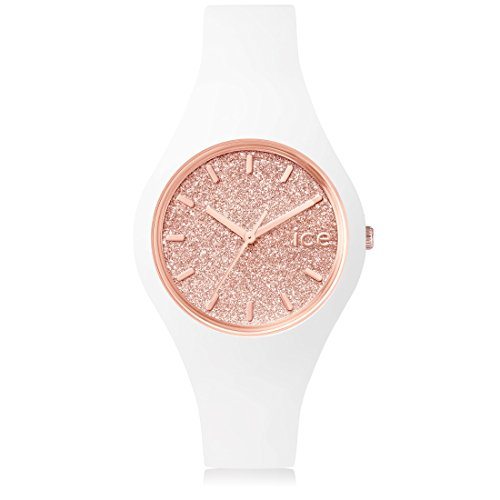 Ice-Watch - ICE glitter White Rose-Gold - Montre argent pour femme avec bracelet en cuir - 001343 (Small)