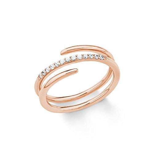 s.Oliver Damen-Ring 925 Silber teilvergoldet Zirkonia weiß Gr. 58 (18.5) - 2018621