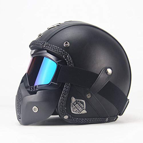 OUYAWEI Unisex PU Leder Helme 3/4 Motorrad Chopper Bike Helm Open Face Vintage Motorrad Helm mit Goggle Mask Black XL Auto Zubehör