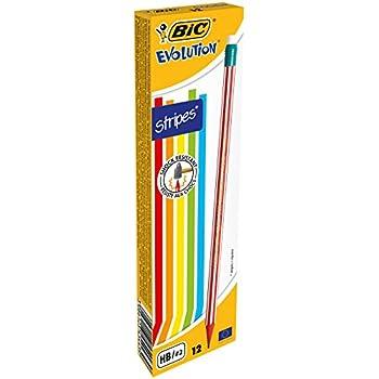 BIC Bleistift Evolution Stripes mit Radierer – HB Bleistift ohne Holz, mit bruchsicherer Mine – 12 Stück in verschiedenen farbigen Streifendesigns