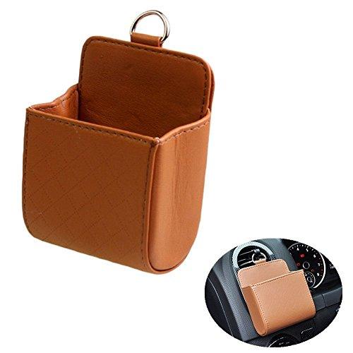 Chytaii Auto Klimaanlage Ausgang Tasche Sack Beutel Für Handy Schlüssel Geldbeutel Tassen Cubby Box Kunstleder (Braun) -