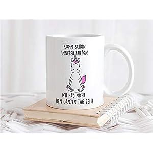 Bedruckte Tasse mit Einhorn und Spruch Komm schon innerer Frieden