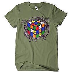 Camisetas La Colmena 4189-Rubikcube (M, Verde Militar)