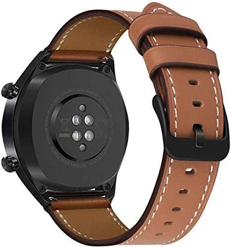 MroTech Cinturino 22 mm Compatibile per Huawei Watch 2 Classic/GT Active Elegant,Samsung Gear S3 Frontier Classic/Galaxy Watch 46mm,Ticwatch Pro/e2/s2,Fossil 22mm Cinturini di Ricambio Pelle Marrone