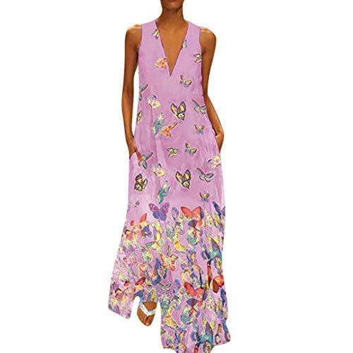 Zegeey Damen Kleid Retro ÄRmellos V-Ausschnitt BöHmen Blumen Drucken Sommer Maxikleid Sommerkleider Strandkleider Blusenkleid(B6-Hot Pink,EU-46/CN-4XL) -
