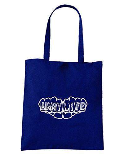 T-Shirtshock - Borsa Shopping FUN0637 army life fist knuckles tattoo t shirt Blu Navy