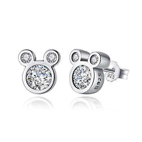 Shysnow 925 Sterling Silber Maus Ohrringe mit Weiß Zirkonias Geschenk für Mädchen Damen -