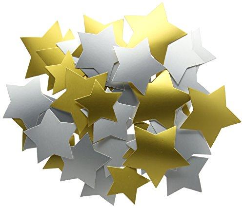 Creation Station - Estrellas de cartulina (3 tamaños, 50 Unidades), Color Dorado y Plateado