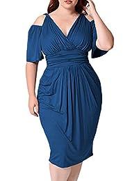 Modo delle Donne Plus Size V-Collo Sexy Senza Bretelle Casuale Solido Abito  Manica Corta 9dcf3abc7ac