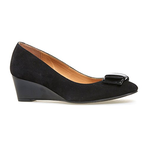 Van Dal Shoes Women Wedge Camden in Black Suede/Patent (3 UK)