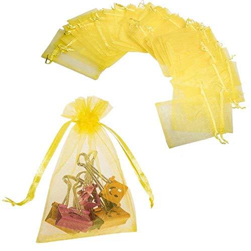 JZK® 50 x Klein gelb Organza Saeckchen Süßigkeiten Beutel Geschenk Schmuckbeutel Geschenk Bags mit Drawstring, für Hochzeit Geburtstag Taufe Party Babyparty Baby Shower, 12 x 9cm Gelb 12