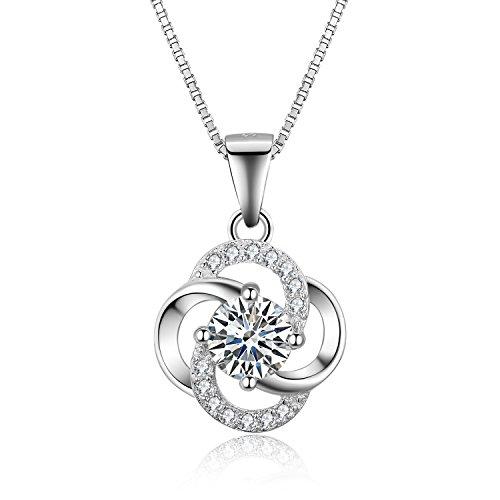 S.Vantine 925 Sterling Silber Runde Lange Kette Anhänger Würfel Zirkonia Halskette (Schwester Anhänger Halsketten)
