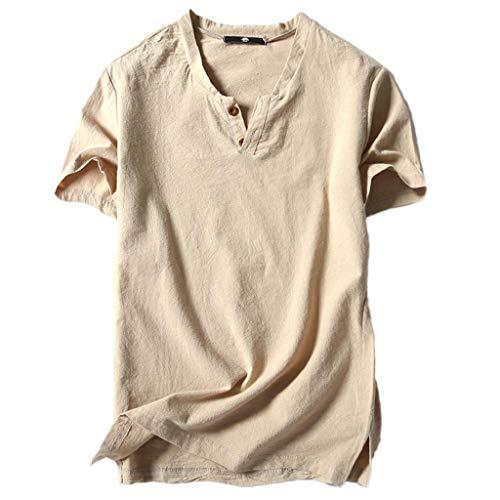 Camisetas Hombre,SHOBDW Verano Lino Liso Algodón