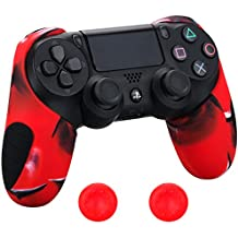 Pandaren® silicona grueso medio Fundas Protectores el mando PS4 (camuflaje rojo) x 1 + thumb grip x 2